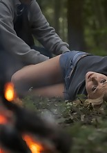 This is a part of Caroline's training sessions. I send her in the wood and if she escapes, she can..