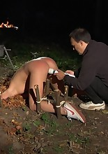 Alexis is caught in a kinky bdsm game. Her head trapped in the dirt, her pussy is worked out till..